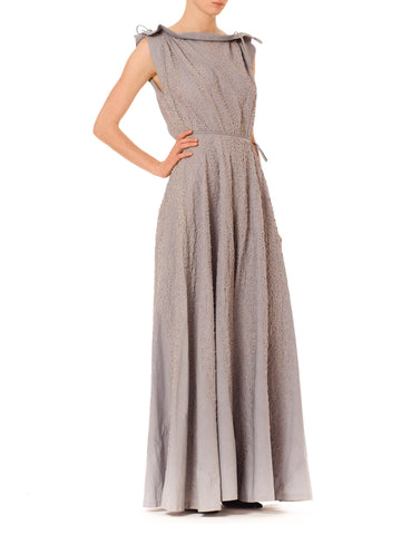 Charming Vintage 1930s Grey Cotton Embroidered Dress