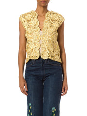 Yellow Silk Embroidered Jacket