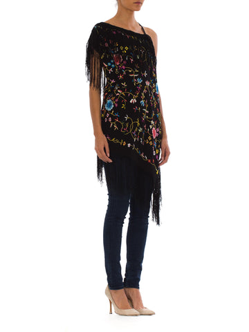 Black Rayon Hand Embroidered Asymmetrical Piano Shawl Top With Fringe
