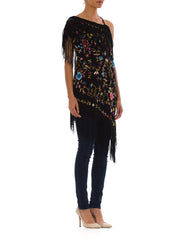 1920s Boho Floral Embroidered Black Mini Fringed Silk Shawl Tunic