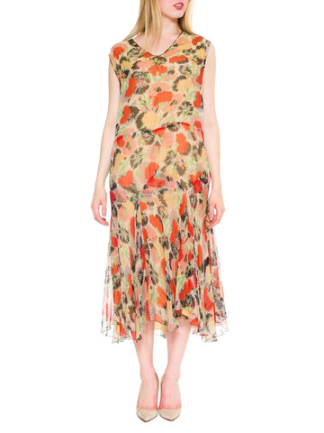 1920s Art Deco Floral Silk Chiffon Dress