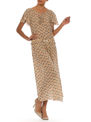 1930s Floral Silk Chiffon Flounce Sleeve Midi Tea Dress