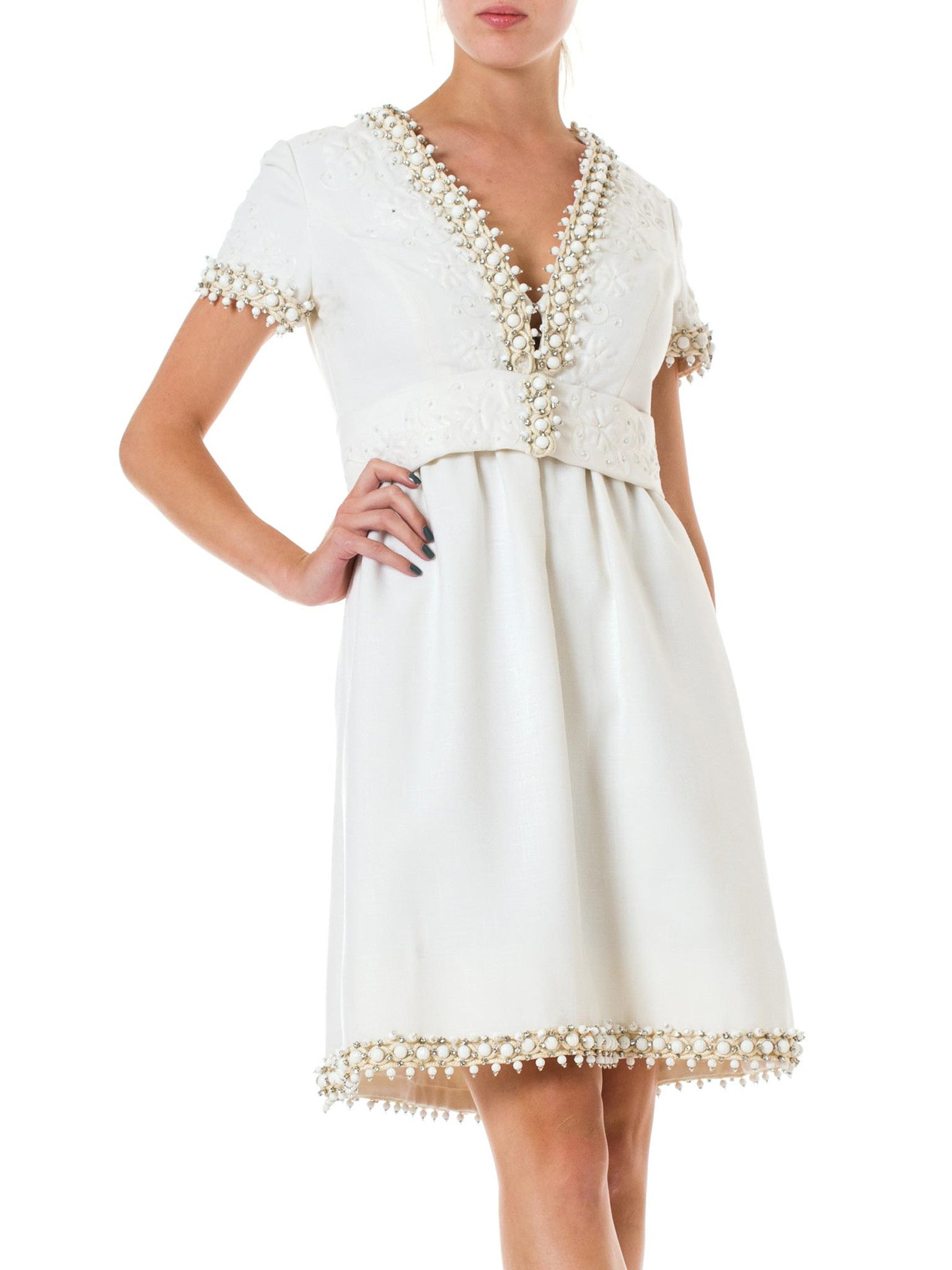 1960s Oscar de la Renta White Crystal Embellished Deep V Belted Short Sleeve Dress