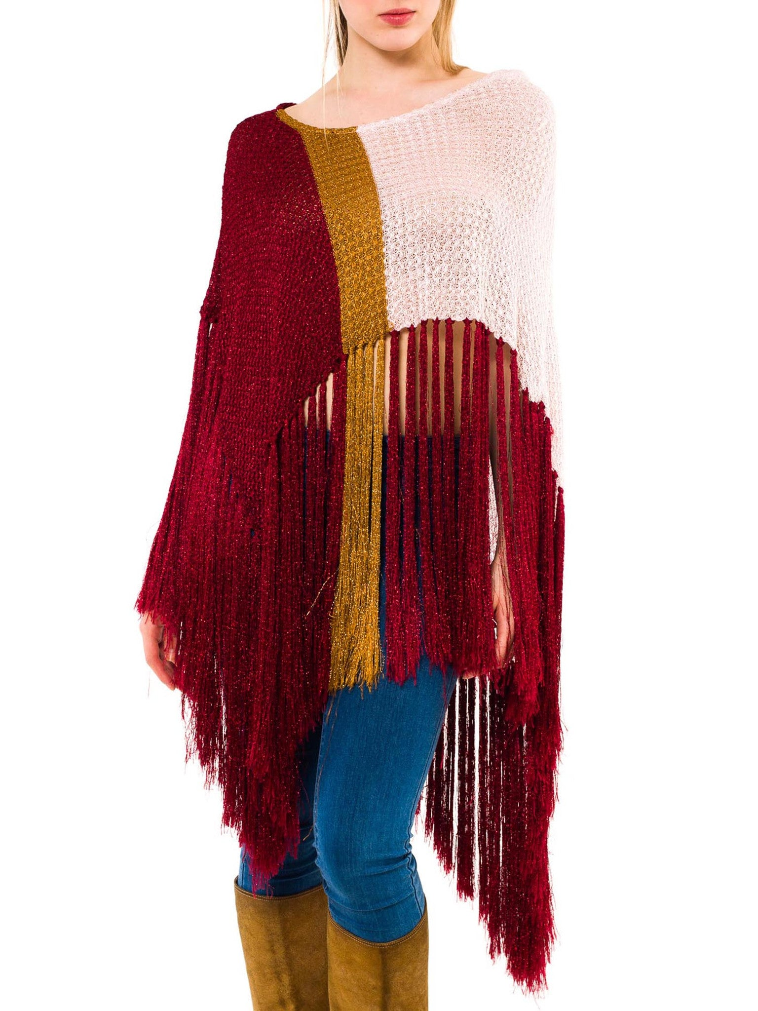 Haute Hippy French Viscose And Lurex Fringed Shawl