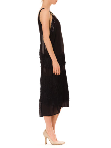 1920S Black Silk Chiffon & Hand Knotted Fringe Flapper Cocktail Dress