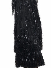 Dazzling Black Sparkly Fringe Drop Waist Roaring Twenties Dress