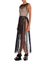 1970s Vintage Black Macramé Fringe Dress