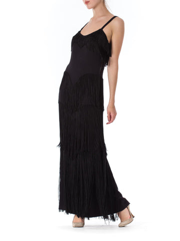 1940S Black Silk Crepe Gown With Tiers Of Hand-Knotted Fringe L