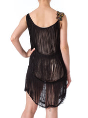 1980s French Mini Black Fringed Sexy Dress with Beaded Neck Detail