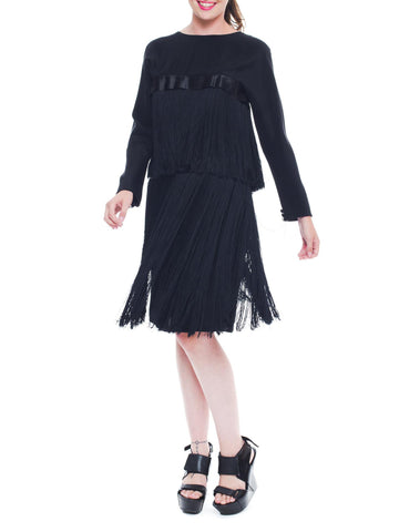 1980S Peter Keppler Black Silk Faille Long Sleeve Fringed Cocktail Dress