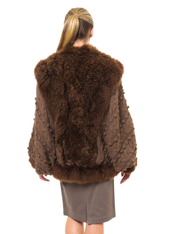 1980S Brown Fox Fur And Dolman Sleeve Sweater Coat