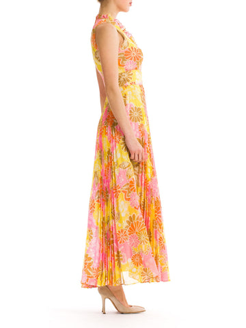 Vintage 1960s Psychedelic Pink and Yellow Floral Sleeveless Dress