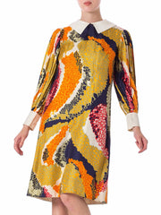 1960s Mod Abstract printed Silk Long Sleeve Dress
