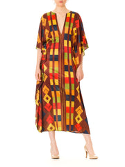 1970s Geometric V-Neck Short Sleeve Caftan