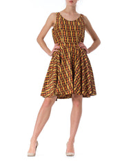 1960s Geometric Print Sleeveless Dress