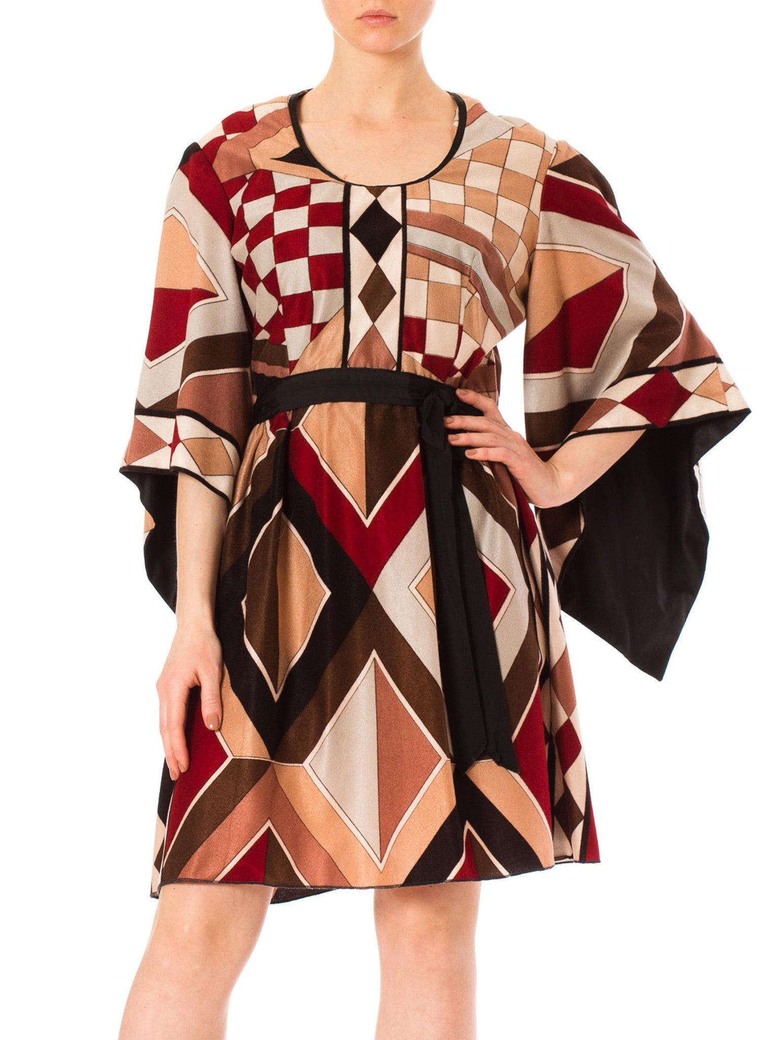 1970s Angel Sleeve Geometric Midi Dress with Bow Belt