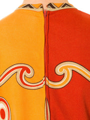 1960s Paganne Mod Abstract Geometric Orange Dress
