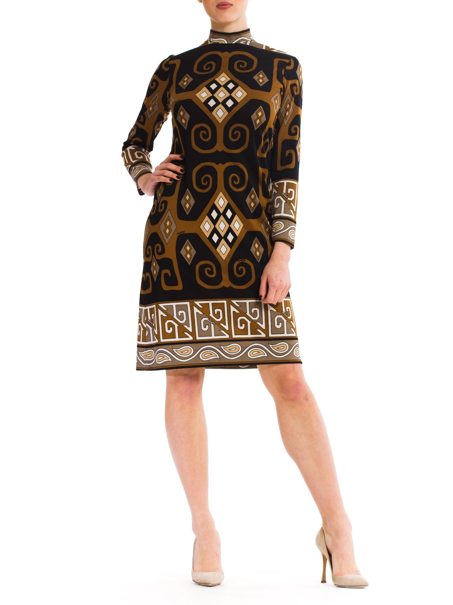 Vintage 1960s Brown Black and White Tribal Print Dress
