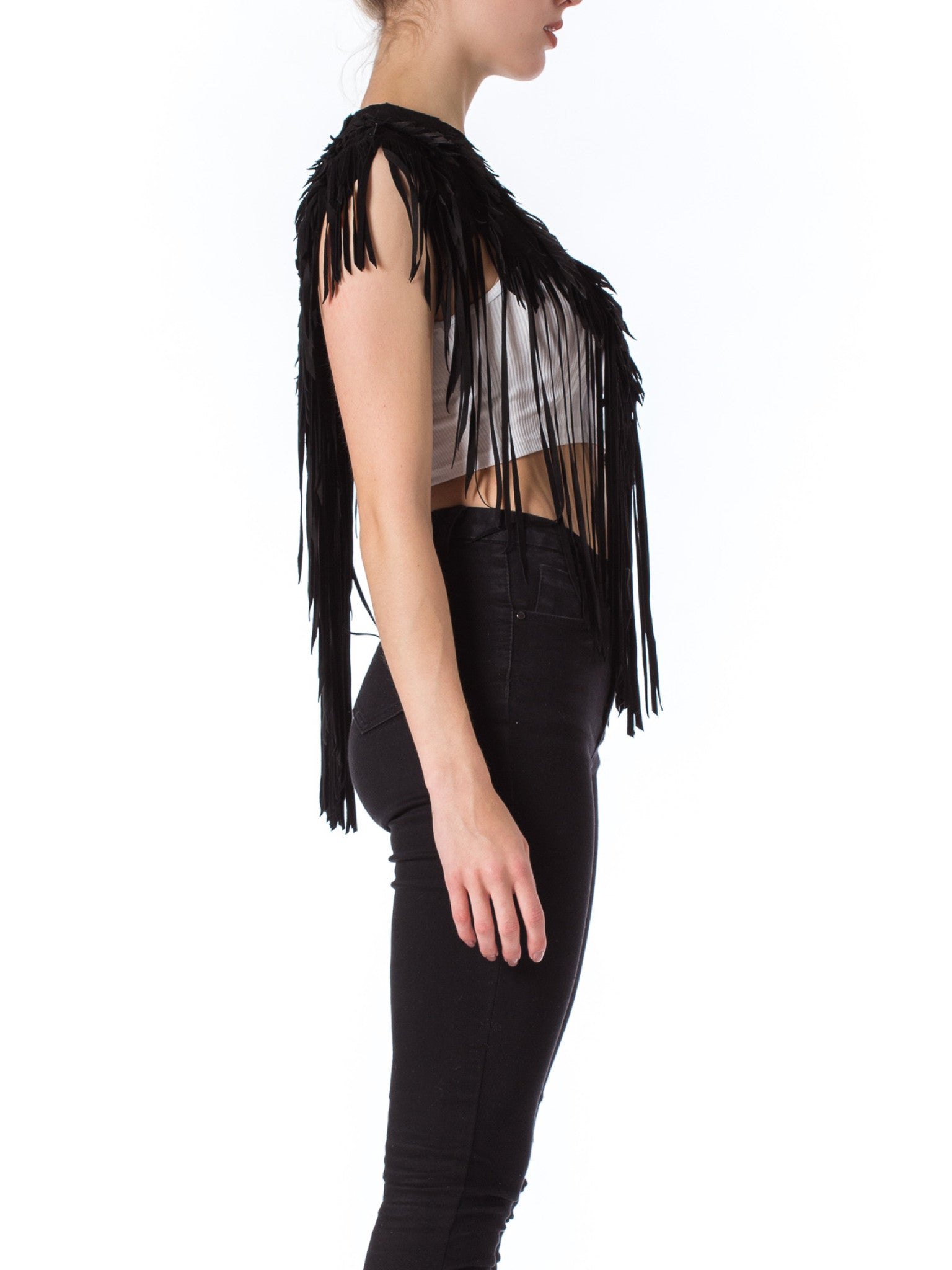 MORPHEW COLLECTION Raven Black Suede Feather Leather Cape