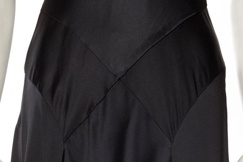 1990S CARMEN MARC VALVO Black Silk Crepe Back Satin Slinky Perfection In A Bias-Cut 1930S Style Gown