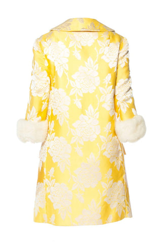 1960S Yellow Floral Silk Jaquard Mink Trim Two Piece Dress And Jacket Ensemble