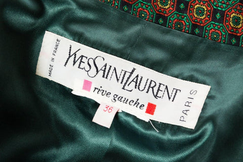 1980S YVES SAINT LAURENT Indian Silk Brocade Coat
