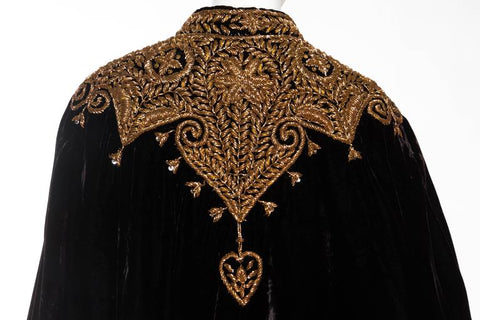 1940S Velvet Cape Embroidered With Metallic Copper