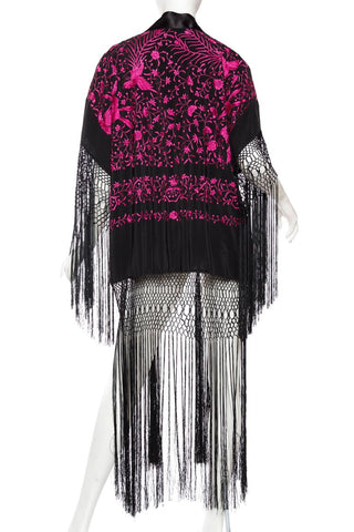 Morphew Collection Black & Pink Hand Embroidered Silk Piano Shawl Kimono With Fringe