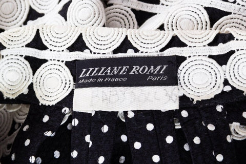 1990S LILIANE ROMI Black & White Haute Couture Cotton Piqué Halter Top Romper With Lace