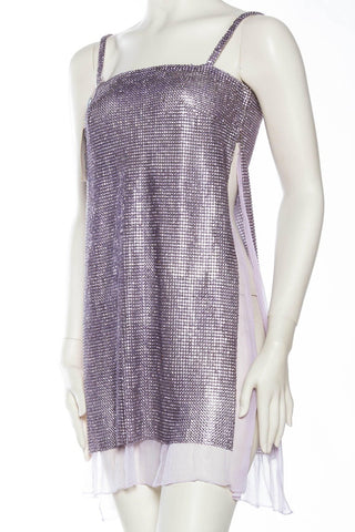 1990S GIANNI VERSACE Lilac Silk Chiffon & Crystal Metal Mesh Cocktail Dress With Full Side Slits