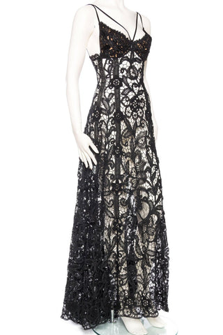 Black Silk Sheer Antique Handmade Lace Gown