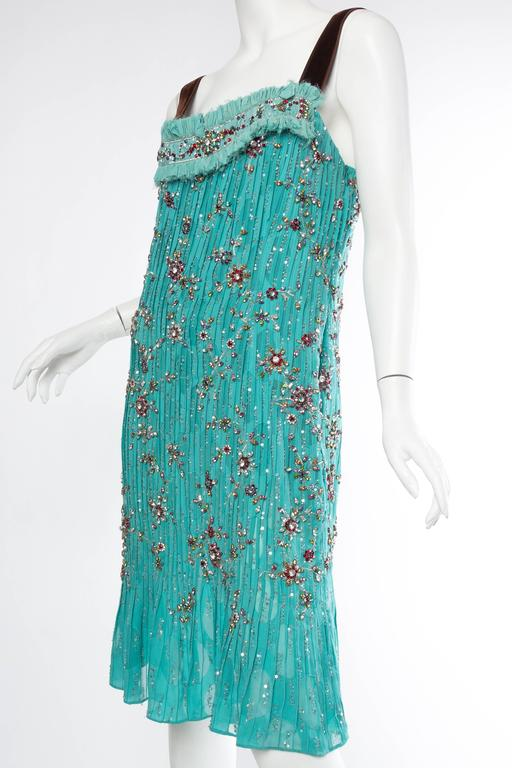 2000S CAROLINA HERRERA Turquoise Silk Burnout Chiffon Pleated Flapper Style Cocktail Dress Beaded With Crystals