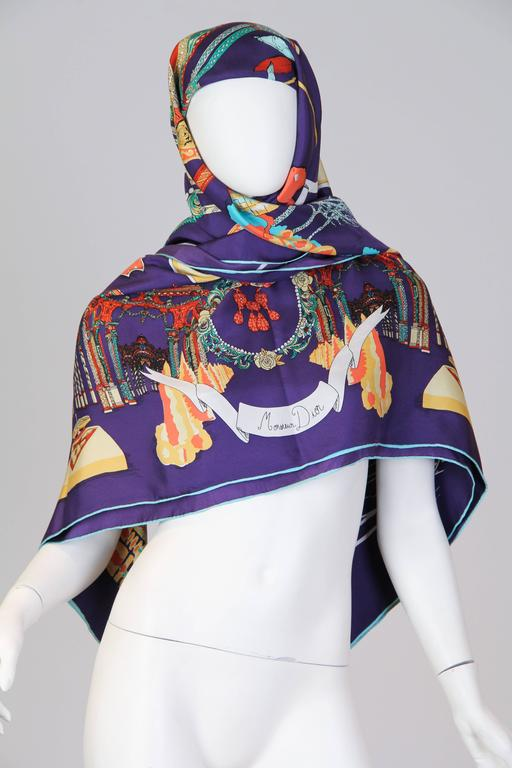 1990S CHRISTIAN DIOR Silk Twill Fairytale Printed Oversized Scarf