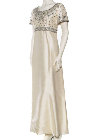 1960S Off White Silk Blend Radzimir Crystal Beaded Jackie O Style Mod Empire Waist Gown