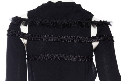 2000S Comme Des Garcons Black Wool Deconstructed Ruffle Sweater Circa 2008