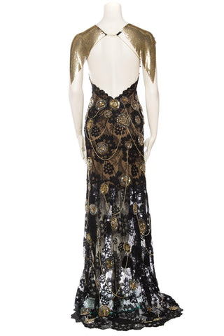Morphew Collection X Unleashed: Red Carpet Gown - 1920S Lace With Bindis, Chains, And Vintage Metal Mesh Dress