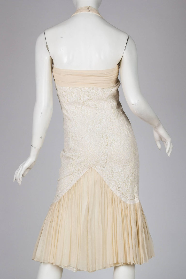1950S Off White Rayon & Silk Lace Chiffon Fitted Little Cocktail Dress