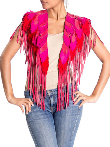 MORPHEW COLLECTION Flamingo Suede Feather Leather Cape