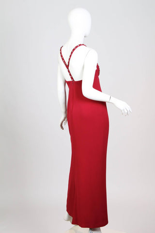 1990S GIANNI VERSACE Cranberry Red Silk Crepe Punk Crystal Studded Gown