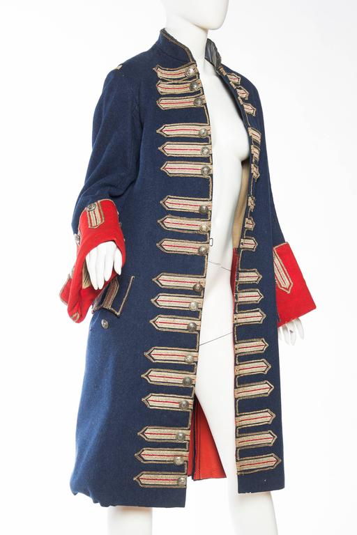 Victorian Blue & Red Wool Men's Antique French Guarde Nationale Frock Coat With Real Silver Trim
