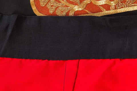 1970S Black & Orange Hand Embroidered In Gold Wrap Skirt Made From Japanese Kimono Silk