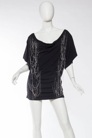 2000S JOHN GALLIANO Black Cotton Jersey Chain Punk Rock T-Shirt