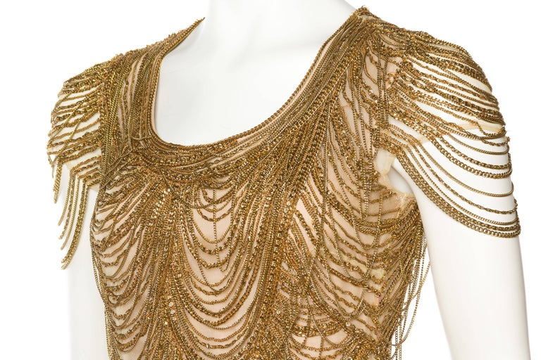 NAEEM KHAN Chain, Silk Nude Dress Dripping In Gold Chains
