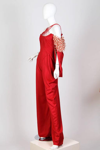 "1990S Alexander Mcqueen Style Red Cotton Spring 2002 ""Dance Of The Twisted Bull"" Jumpsuit Un-Shown Runway Sample"