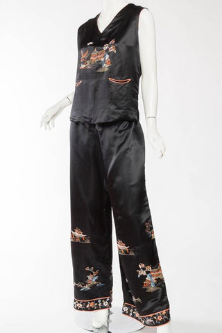 1920S Black Silk Satin Chinese Embroidered Pajamas Set