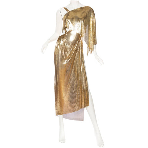 Gold Metal Mesh Backless One Sleeve Gown With High Slit