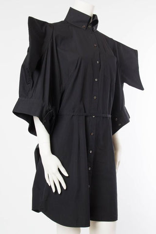 2000S ALEXANDER MCQUEEN Black Cotton Kimono Sleeve Cocoon Shirt Dress