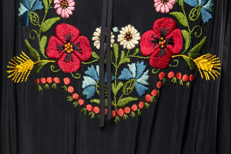Morphew Collection Black Rayon Bohemian Embroidered Dress With Flowers & Hand Smocking