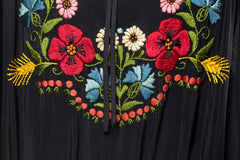 1940s Bohemian Embroidered Dress