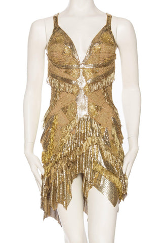 Morphew Collection Jason Lyon Gold Lace And Metal Mesh Fringed Dress